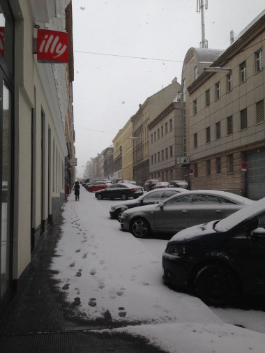 A snowy arrival to Vienna! This is the street where my AirBnb was located.