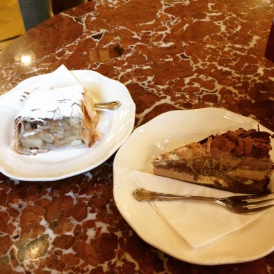 Two desserts at Cafe Central, because why not?! Apple strudel on the left and some kind of chocolate mousse pie on the right.